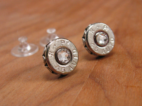 Nickel 45 Auto Bullet Casing Diamond Stud Earrings