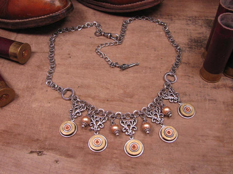 410 Gauge Shotgun Casing Bib Style Silver Statement Necklace