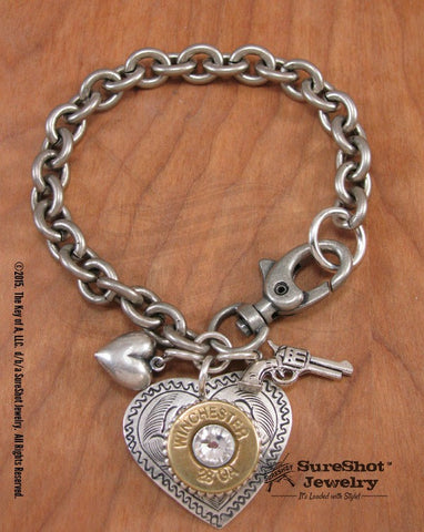 Shot Thru the Heart Shotshell Charm Bracelet