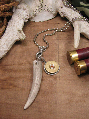 Unisex Deer Antler & 12 Gauge Shotgun Casing Necklace