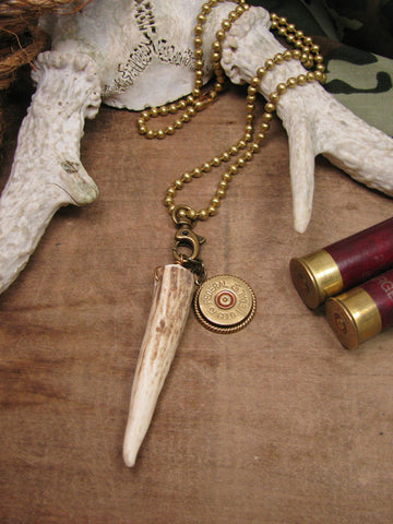 Unisex Deer Antler & 12g Shotgun Casing Necklace