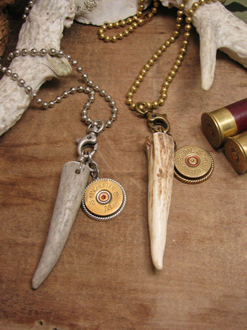 Unisex - Antler Tip & 12 Gauge Shotshell Necklace