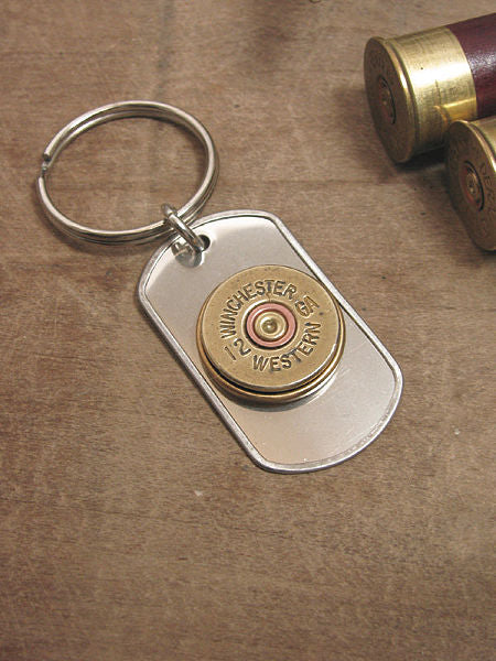 12 Gauge Shotshell Stainless Dog Tag Key Chain - Old Winchester Western Brand-SureShot Jewelry