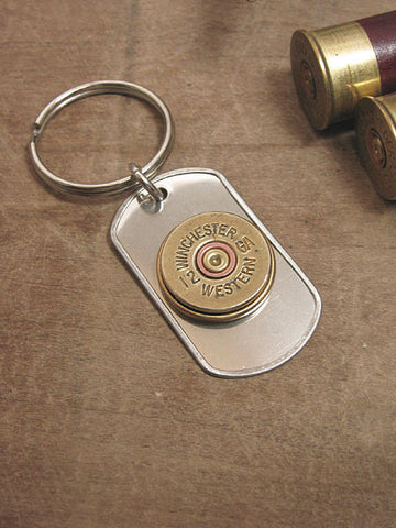 12 Gauge Shotshell Stainless Dog Tag Key Chain - Old Winchester Western Brand