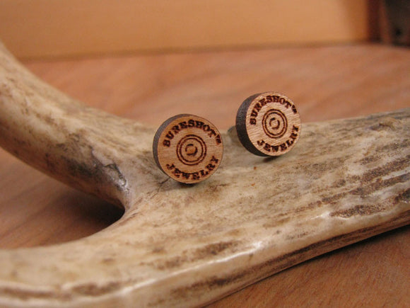 SURESHOT™ Branded Laser Engraved Round Logo Wood Studs-SureShot Jewelry