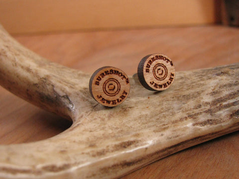 SURESHOT™ Branded Laser Engraved Round Logo Wood Studs