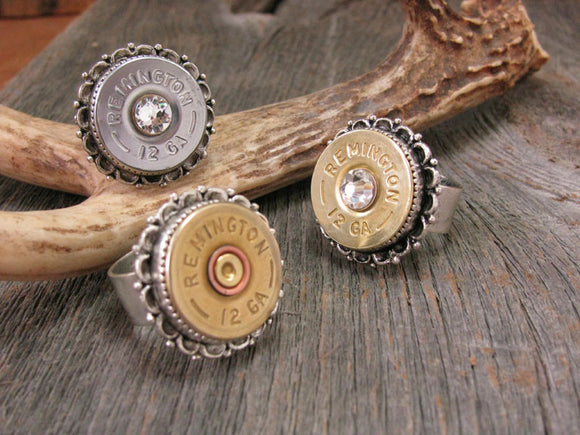 Fancy Bezel 12 Gauge Shotshell Bullet Ring-SureShot Jewelry