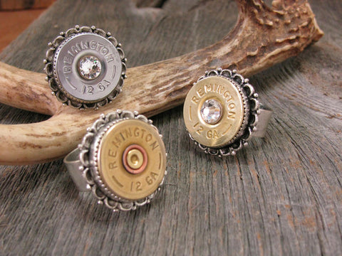 Fancy Bezel 12 Gauge Shotshell Bullet Ring