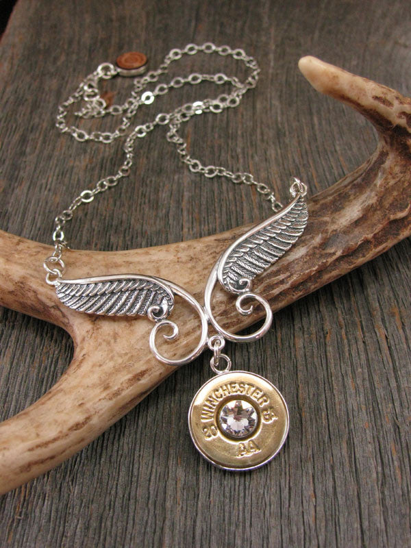 Sterling Angel Wing Drop Pendant Necklace