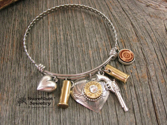 Wire Bullet Bangle Bracelet - Shot Thru the Heart-SureShot Jewelry