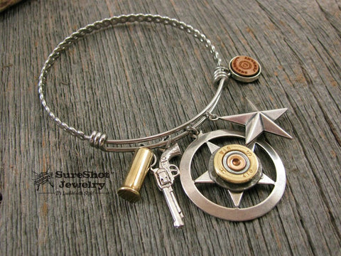 Wire Bullet Bangle Bracelet - Lone Star Theme