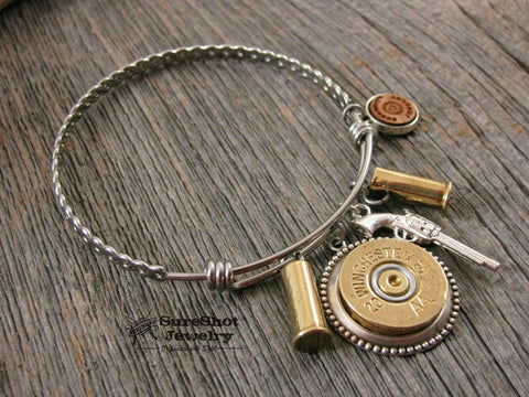 Wire Bullet Bangle Bracelet - Shotgun Casing Style