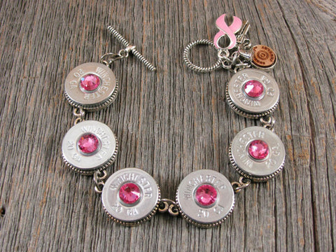 BREAST CANCER AWARENESS - Silver 20 Gauge Shotgun Casing PINK Crystal Bracelet