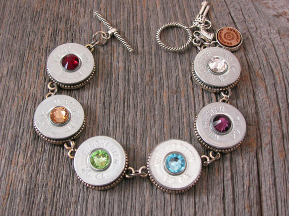 Silver 20 Gauge RAINBOW or CHAKRA Colored Shotshell Bullet Bracelet-SureShot Jewelry