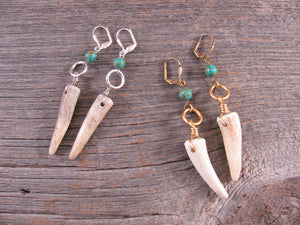 Petite Deer Antler Tip and Turquoise Bead Dangle Earrings-SureShot Jewelry