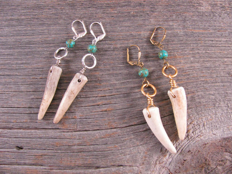 Petite Deer Antler Tip and Turquoise Bead Dangle Earrings