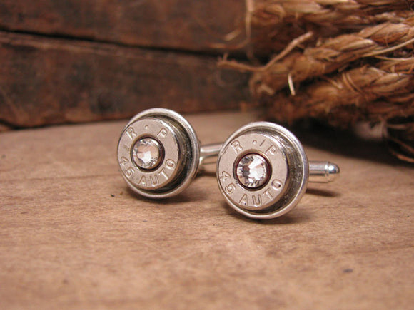 Nickel 45 Auto Silver Bullet Cuff Links w/Diamond Crystals-SureShot Jewelry