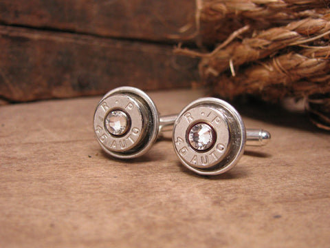 Nickel 45 Auto Silver Bullet Cuff Links w/Diamond Crystals