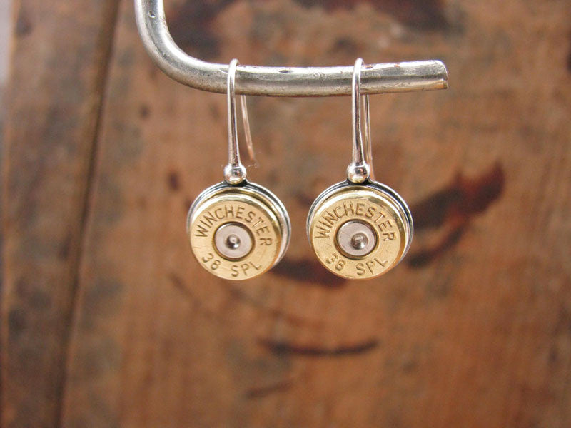 STERLING SILVER French Wire Bullet Casing Earrings