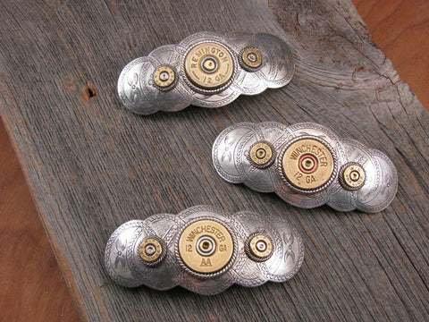 Shotgun & Bullet Casing Oval Scallop Shape French Hair Barrette