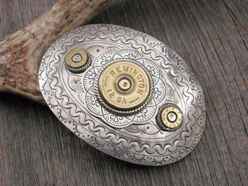 Shotgun and Bullet Casing Oval French Hair Barrette
