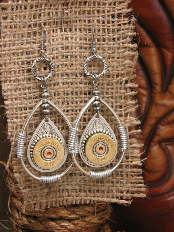28 Gauge Shotshell Double Teardrop Earrings