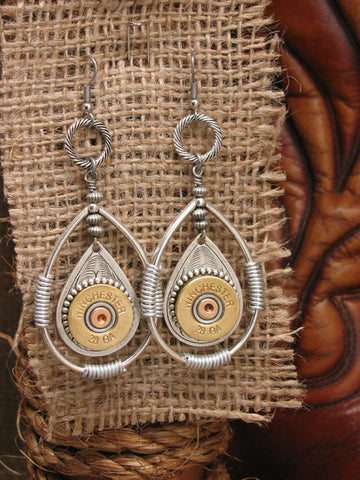 28 Gauge Shotgun Casing Silver Double Teardrop Dangle Earrings