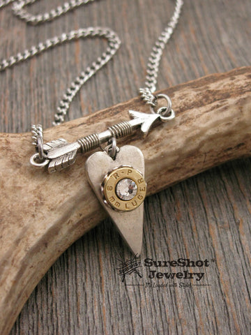 """Follow Your Arrow"" Bullet Casing Heart & Arrow Necklace"