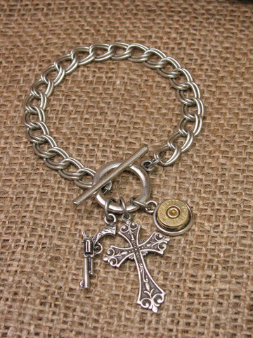 """God and a Gun"" Bullet Casing Silver Charm Bracelet"