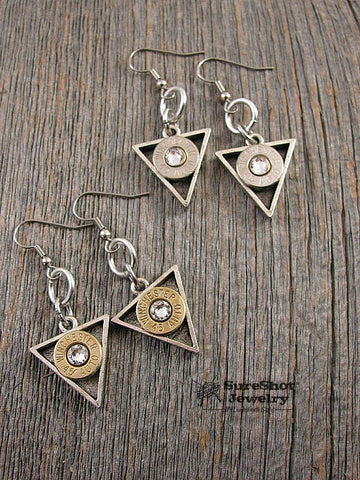 Modern Geometric Triangle Shaped Bullet Casing Dangle Earrings
