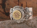 12 Gauge Stacked Filigree Silver Shotshell Cuff Bracelet-SureShot Jewelry