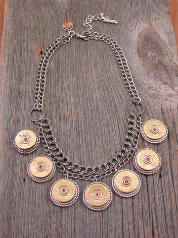 Stunning 20 Gauge Shotgun Casing Double Chain Bib Necklace