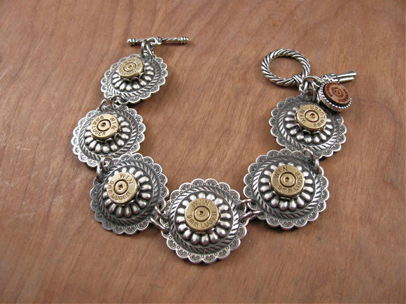 Antique Silver Concho 9mm Bullet Bracelet-SureShot Jewelry