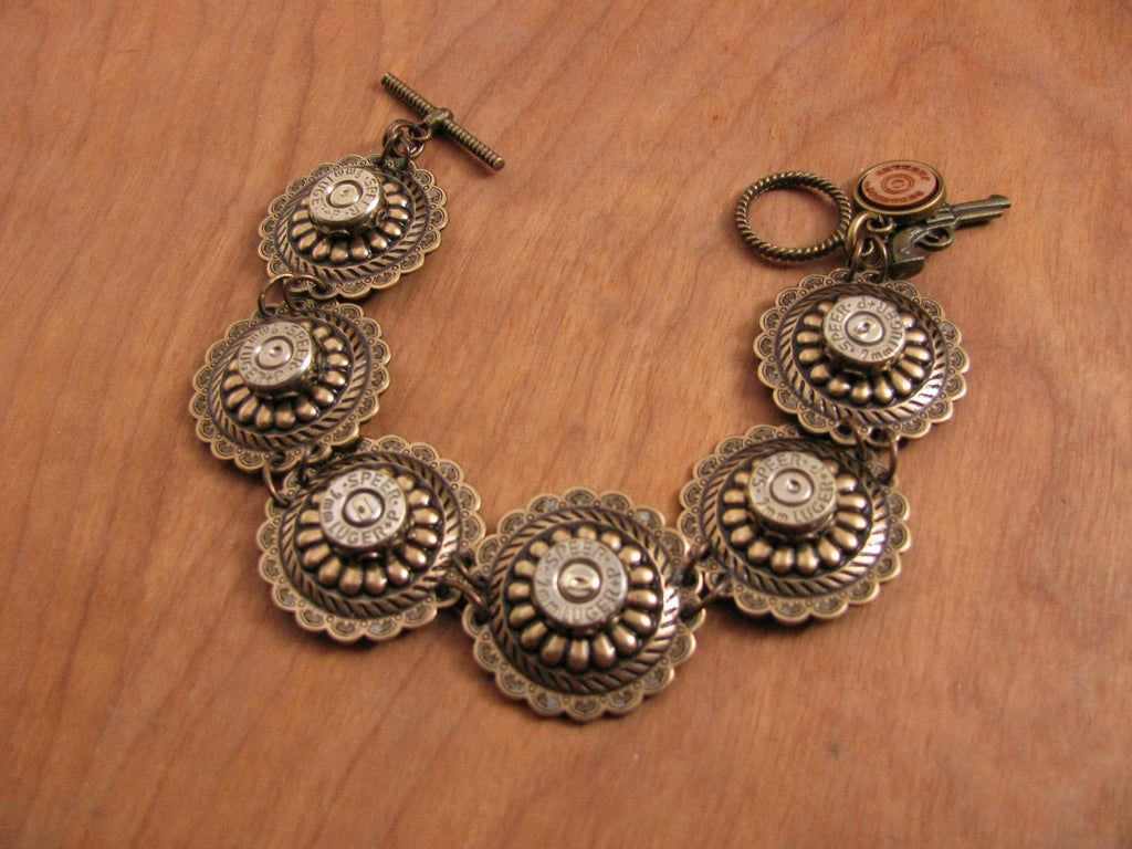 Antique Brass Concho Link 9mm Bullet Casing Toggle Bracelet