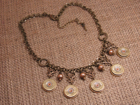 20 Gauge Shotgun Casing Bib Style Brass Statement Necklace