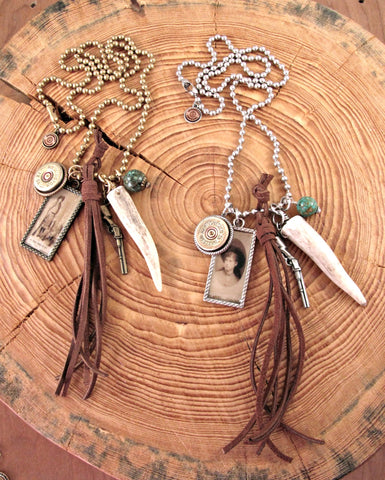 "Annie Oakley Theme - ""Little SureShot"" Shotshell, Antler Charm Necklace"