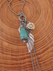 Wing, Turquoise & Bullet with Chain Accent Long Bullet Necklace-SureShot Jewelry