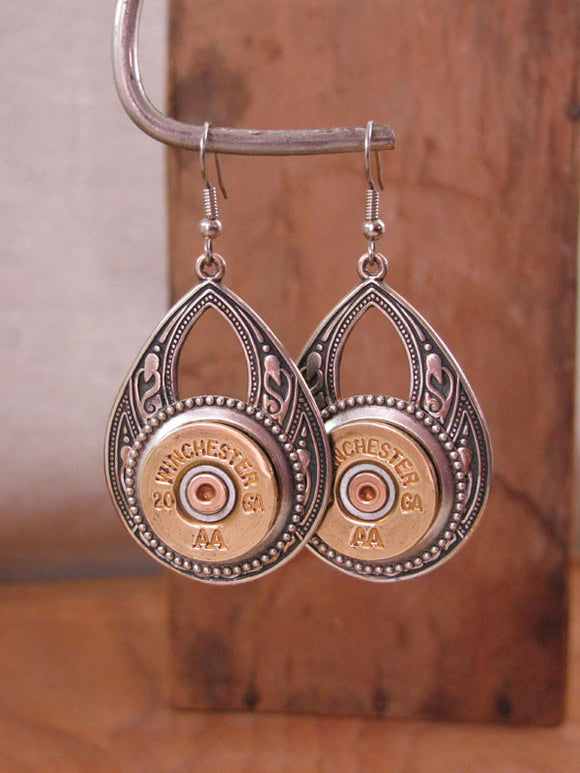 20 Gauge Large Teardrop Southwest Style Shotshell Dangles-SureShot Jewelry