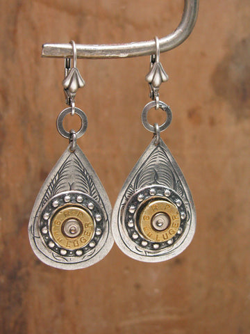 Antique Silver Teardrop 9mm Bullet Casing Leverback Earrings