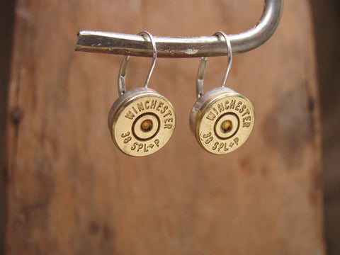 Bullet Casing STERLING SILVER Leverbacks