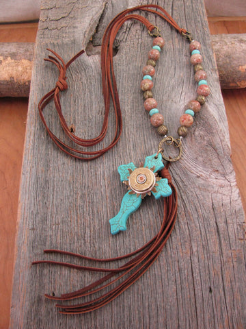 Boho Western Brown Deerskin Lace Long Length Beaded Turquoise Cross & Tassel Necklace