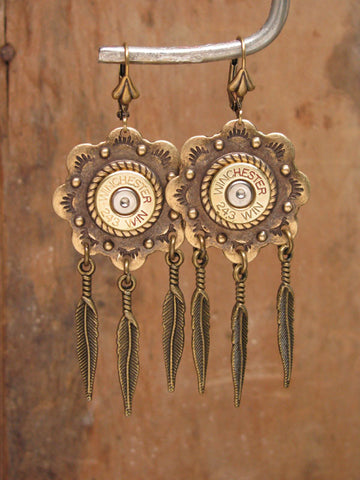 Brass Concho and Feather Bullet Earrings