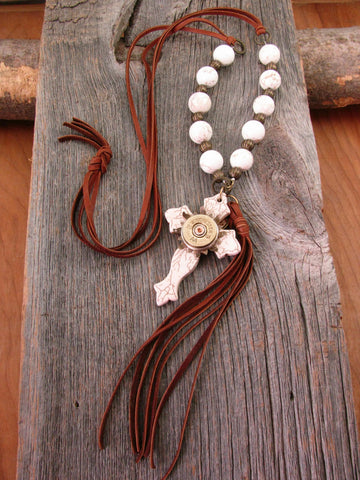 Boho Western Brown Deerskin Lace Long Length Beaded Cross & Tassel Necklace