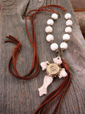 Boho Western Brown Deerskin Lace Long Length Beaded Cross & Tassel Necklace-SureShot Jewelry
