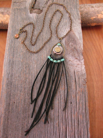 Boho Style Deer Antler Slice Bullet Casing Long Black Deerskin Fringe Necklace