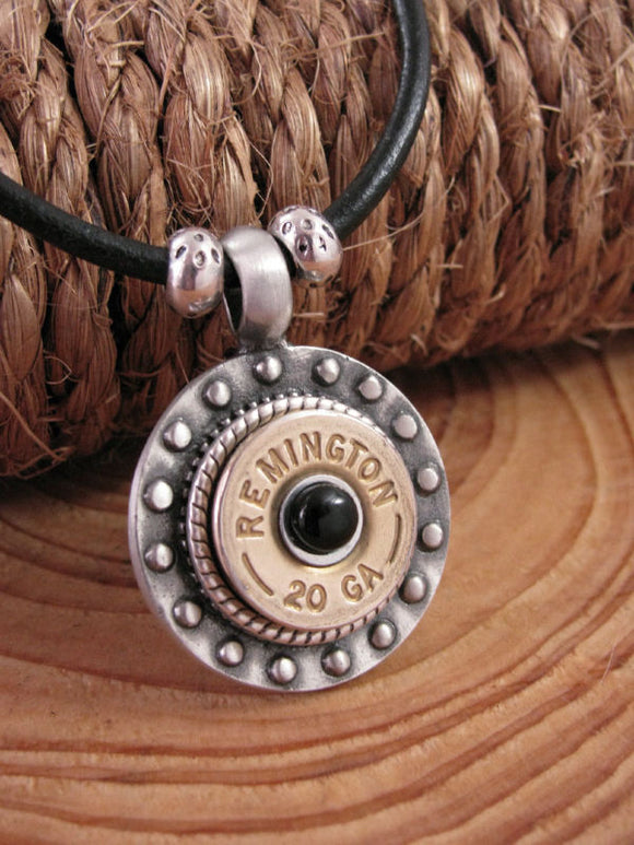 Men's Black Onyx Shotshell Leather Cord Necklace
