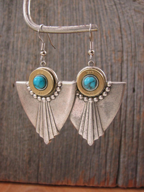 Art Deco Style 410 Gauge Shotgun Casing Turquoise Earrings