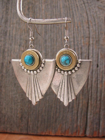 Art Deco Style 410 Gauge Turquoise Earrings