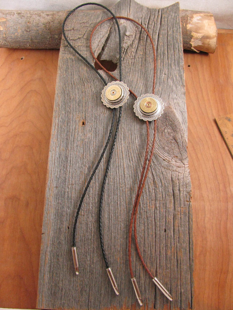 12 Gauge Shotshell Silver Concho Braided Leather Cord Bolo Tie