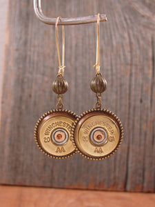 20 Gauge Shotshell Brass Kidney Wire Bullet Earrings-SureShot Jewelry